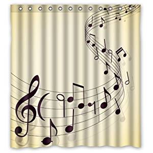 Bathroom Shower Curtains Music Art Musical Notes 180x180cm Eco Friendly Waterproof Fabric Curtain In From Home Garden On