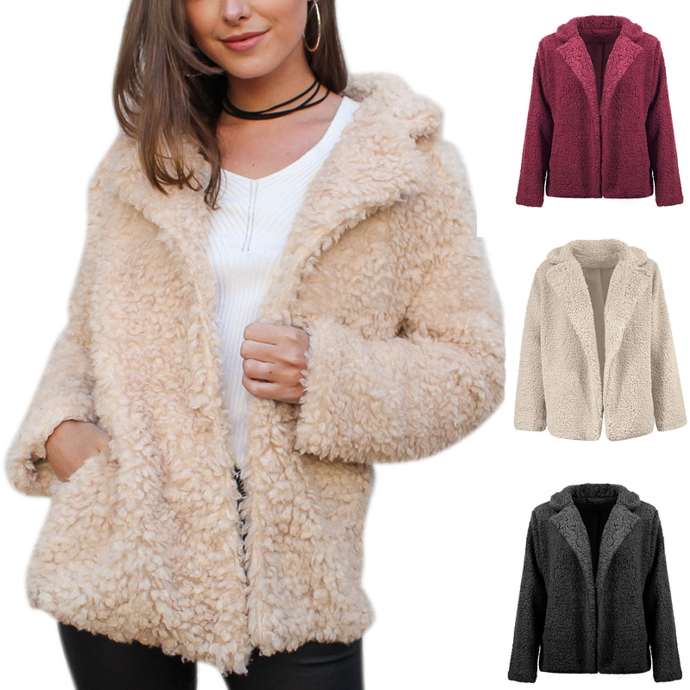 Women Lady Coat Long Sleeve Thicken Lapel Solid Color Warm Fashion for Winter FS99