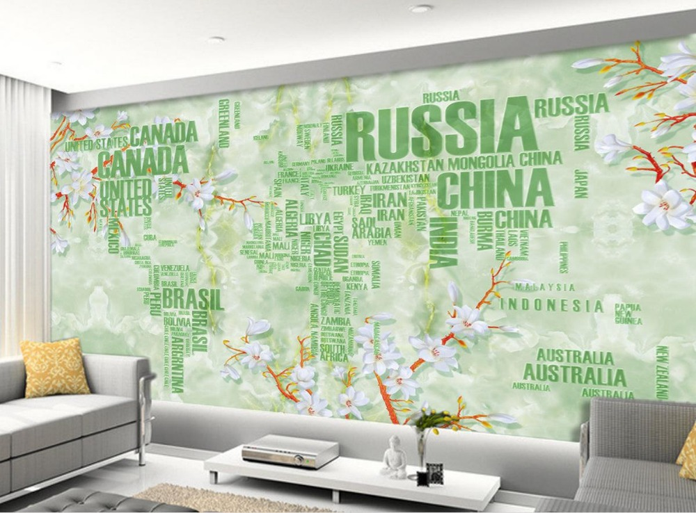 ᗑ Europe Style Map Living Room Tv Backdrop Bedroom 3d Photo