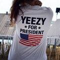 Kanye West Yeezy Para Presidente de Impresión T camisa de Los Hombres de Hip hop Streetwear Nueva Moda Casual Camisa Divertida Blanco Negro Top Camisetas Inconformista