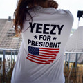 Kanye West Yeezy Para Presidente de Impressão T shirt Homens Hip hop Camisa Engraçada Streetwear Nova Moda Casual Preto Branco Top Tees Hipster