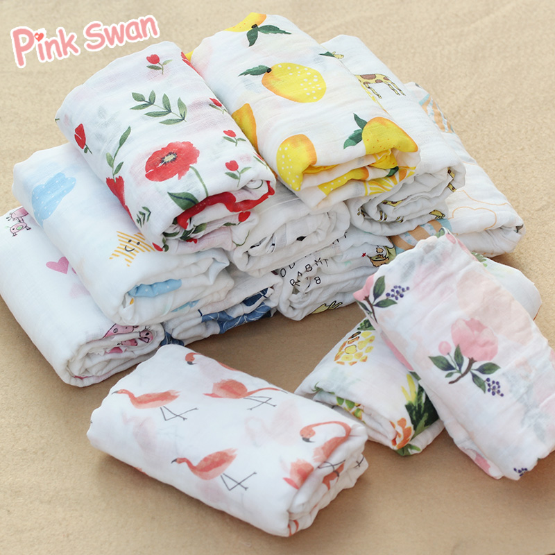 PINK SWAN 100%Cotton Flamingo Rose fruits Print Muslin Baby Blankets Bedding Infant Swaddle Towel For Newborns Swaddle Blanket box