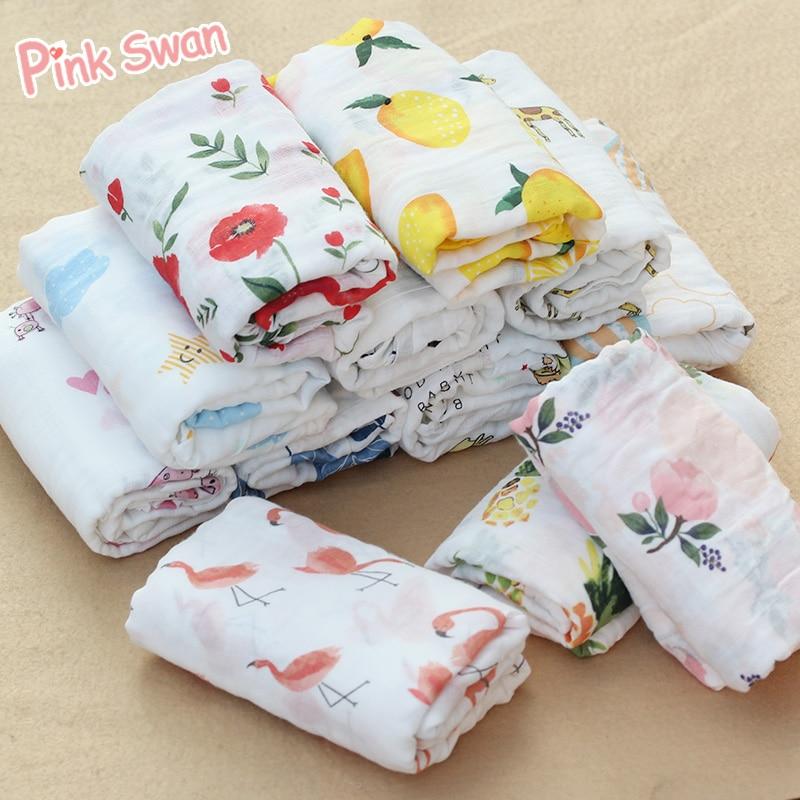 PINK SWAN 100%Cotton Flamingo Rose fruits Print Muslin Baby Blankets Bedding Infant Swaddle Towel For Newborns Swaddle Blanket