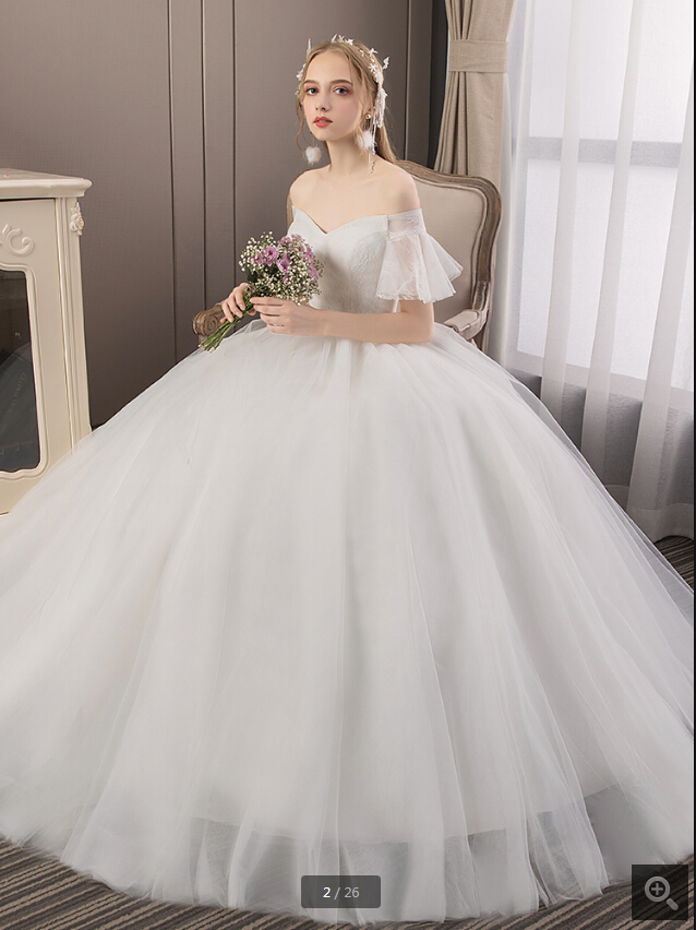Vestido De Festa Ball Gown White Lace Princess Puffy Wedding Dress Off The Shoulder Short Sleeve V Neck Stylish Bridal Gowns