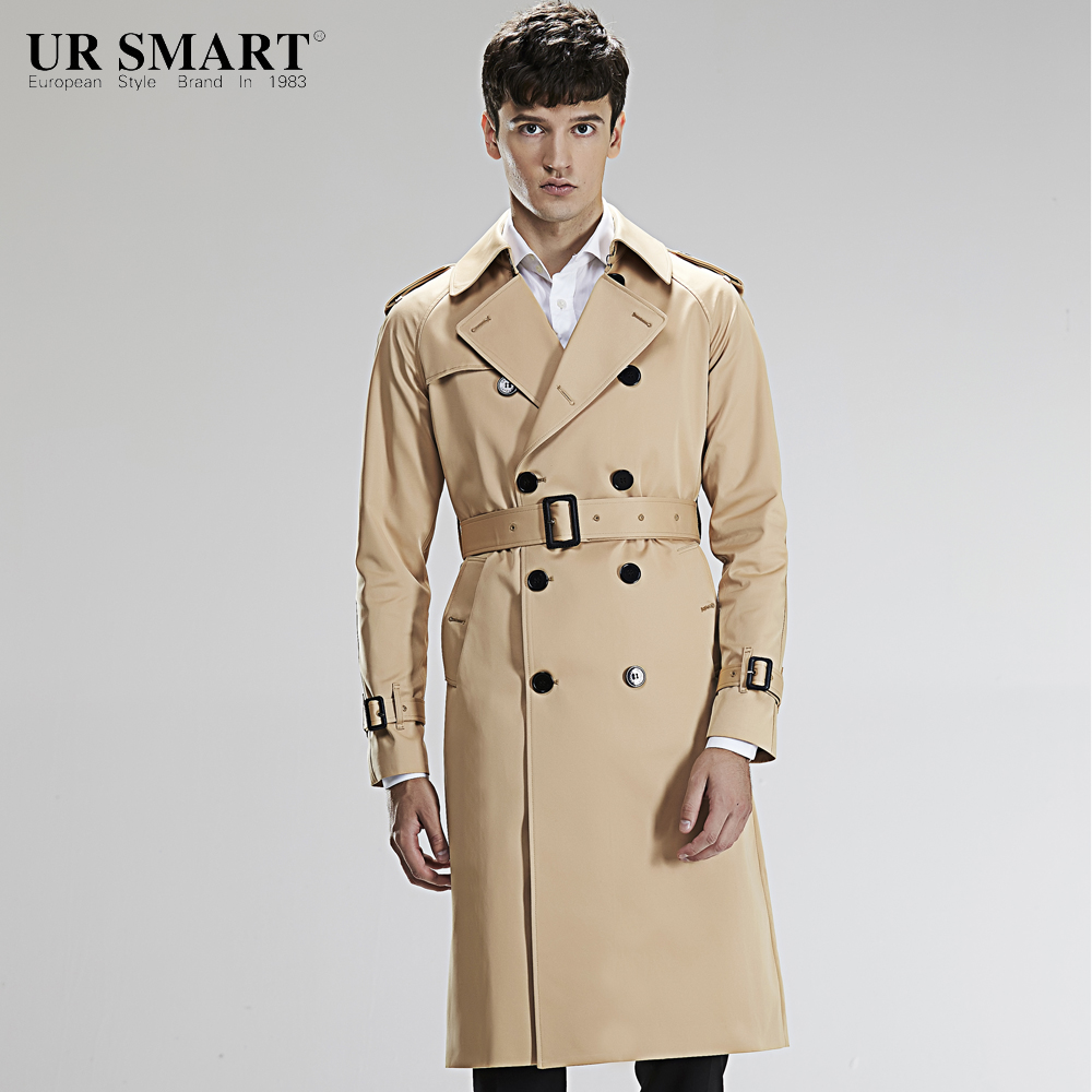 Trench Ursmart Double-breasted Trench Coat Short Male Autumn New Fashion Mens Windbreaker Honey Yellow Coat Dust Coat Men's Clothing