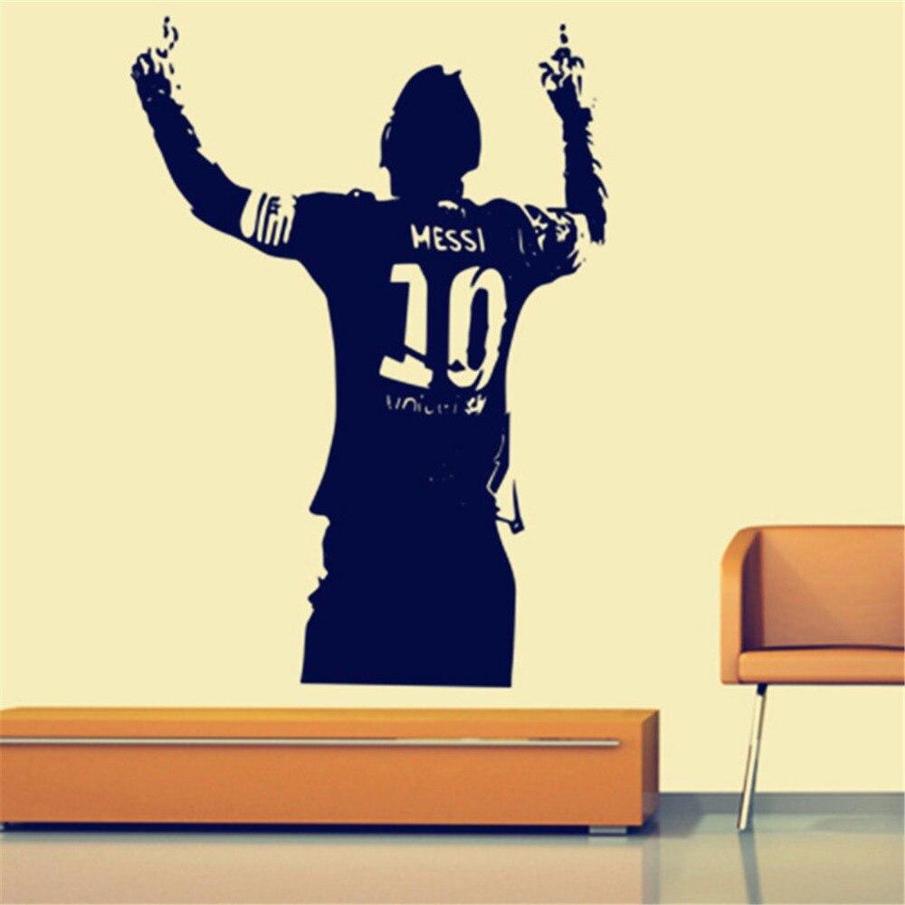 Zwart PVC Enorme Football Ster Lionel Messi Figuur Muursticker Vinyl DIY Kids Woonkamer Muursticker Decals Voor Voetbal liefhebbers 1