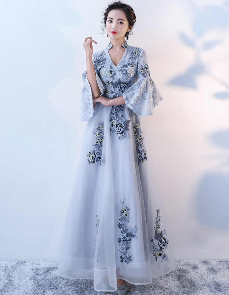 de1bff43ec417 2018 Chinese Traditional Dress Modern Qipao Dress Evening Dress Blue  Cheongsam Sexy Long Qipoa Party Dresses Chino Tradicional