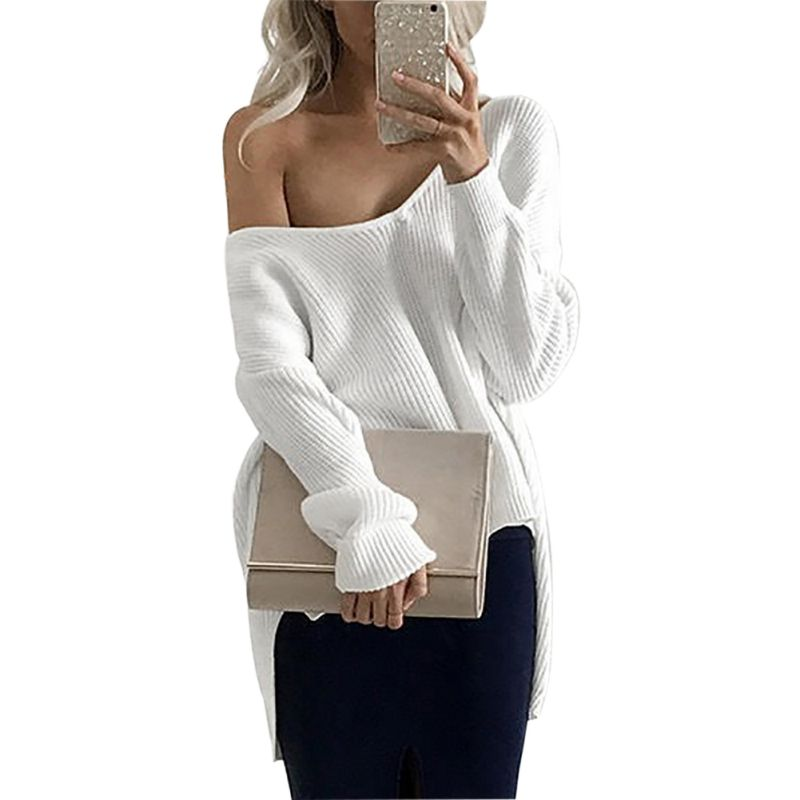Women Pullovers Long Sleeve White Sweater V Neck Knitted Jumper Off