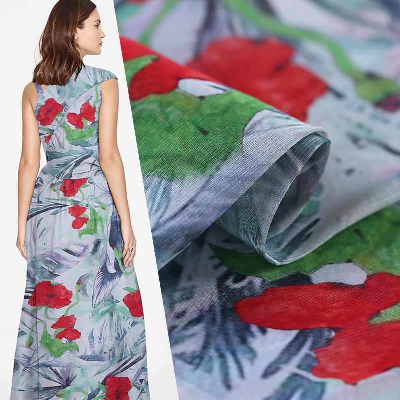 SLK08 50X140CM Summer Sheer Red Florals Printed Cotton Fabrics For Women Dress 2018 Silk Scarve Silk Clothing DIY Fabric For Sew