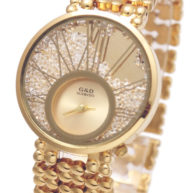 2017 Brand Luxury G&D Women Quartz Wristwatches Golden Stainless Steel Lady's Br