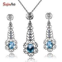 a28a36f5e4bf Szjinao joyería de Aguamarina perlas naturales para mujer para conjuntos de  joyas juego de pendientes colgantes de plata de ley .