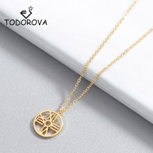 Todorova Simple Round Circle Pendant Necklaces for Women Clock Charm Necklace Clavicle Necklace Wedding Jewelry Wholesale Gift todorova clear cz cubic zircon double round circle forever pendant necklace for women simple geometric necklace jewelry gift