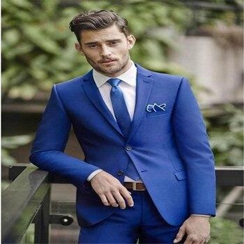 Classic 2019 men's sea blue clothes + pants 2 suits custom casual slim suit jacket dance business suit 2 sets coat + pants.