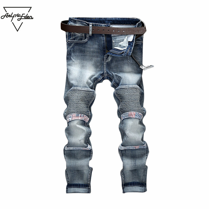 Aelfric Eden Fashion Spliced Men's Jeans Elastic Fold Slim Trousers Punk Rock Jeans Small Feet Straight Motorcycle Jeans Male punk rave new products elastic coarse slanting stripe punk male trousers slim fit jeans