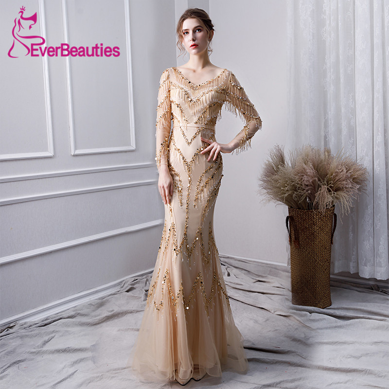 Vestidos De Gala Mermaid Gold   Prom     Dresses   2019 Luxury Long Sleeves Evening Party   Dresses     Prom   Gown Robe De Soiree