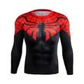Teia de Aranha vermelha Homem Secagem rápida Malha Ventile Superhero 3D Impressão t camisa Camisa Exercício Skintight Manga Longa Camisa Bicicleta