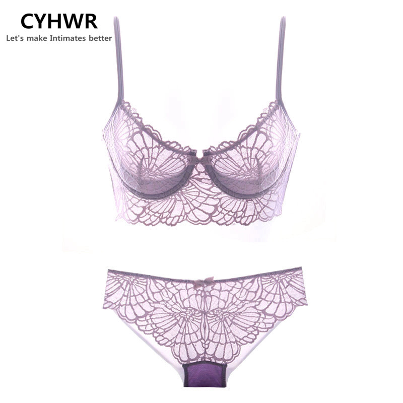CYHWR brief sets sexy Ultrathin and transparent sexy lace embroidery underwear sets women lace brassiere lingerie