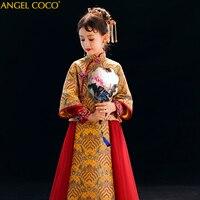 Комплект из 2 предметов, новинка зимы Детское платье для девочек Детский костюм в китайском стиле Стиль платье Чонсам классические элегантн