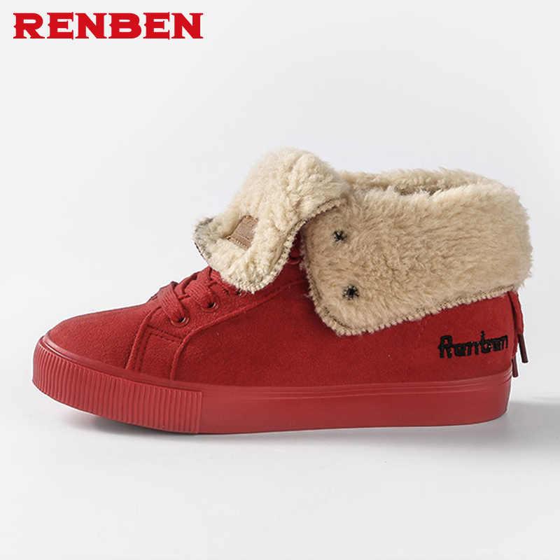 Donne Stivali Da Neve Inverno Caldo Sneakers Stivali Botas Lace Up Mujer peluche Stivaletti Signore Scarpe Invernali Nero