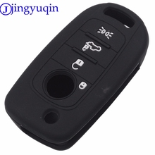jingyuqin Silicone Car Key Fob Shell Cover Case Protect Skin Holder For FIAT TIPO Toro 500X Nuovo Grazie Remote Keyless 4Buttons