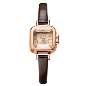Image 2 - יוליוס ייחודי כיכר קטן חיוג קטן גבירותיי שעונים נשים דק עור רצועת קוורץ שעונים רוז זהב נשי שעון Montre Femme