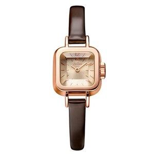Image 2 - Julius unikalny kwadratowy mały Dial małe panie zegarki kobiety cienki skórzany pasek zegarki kwarcowe różowe złoto kobiet zegarek Montre Femme