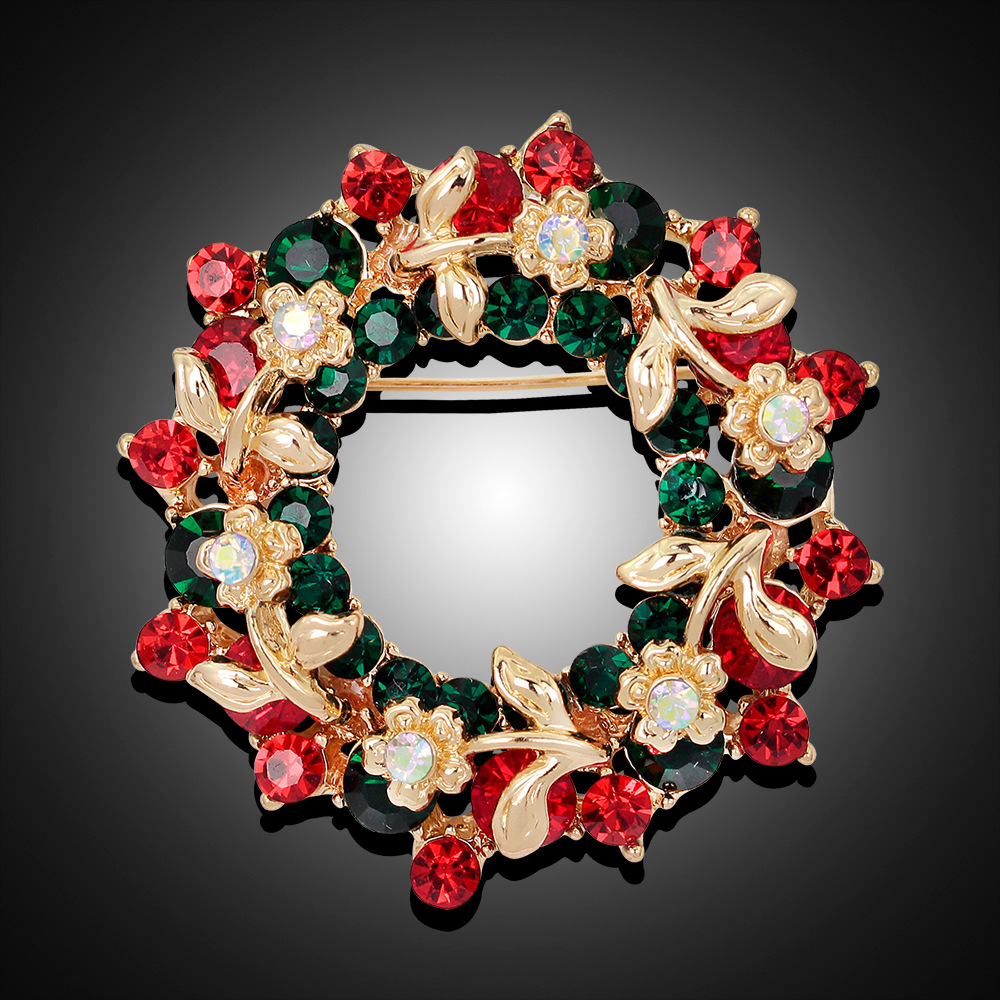 MloveAcc Round Garland Rhinestone Floral Brooches Pins Women ...