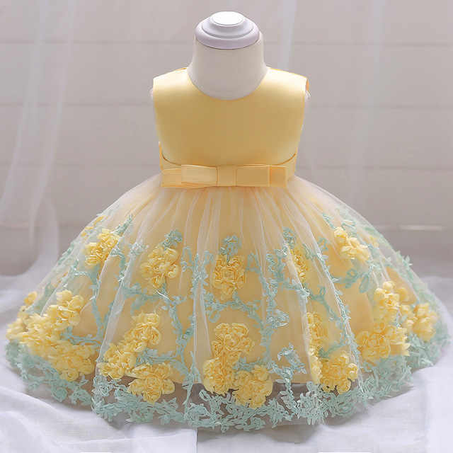 85c743a15cb15 Newborn Baby Girl Princess Dresses Yellow Lace Dress Flowers Bow ...