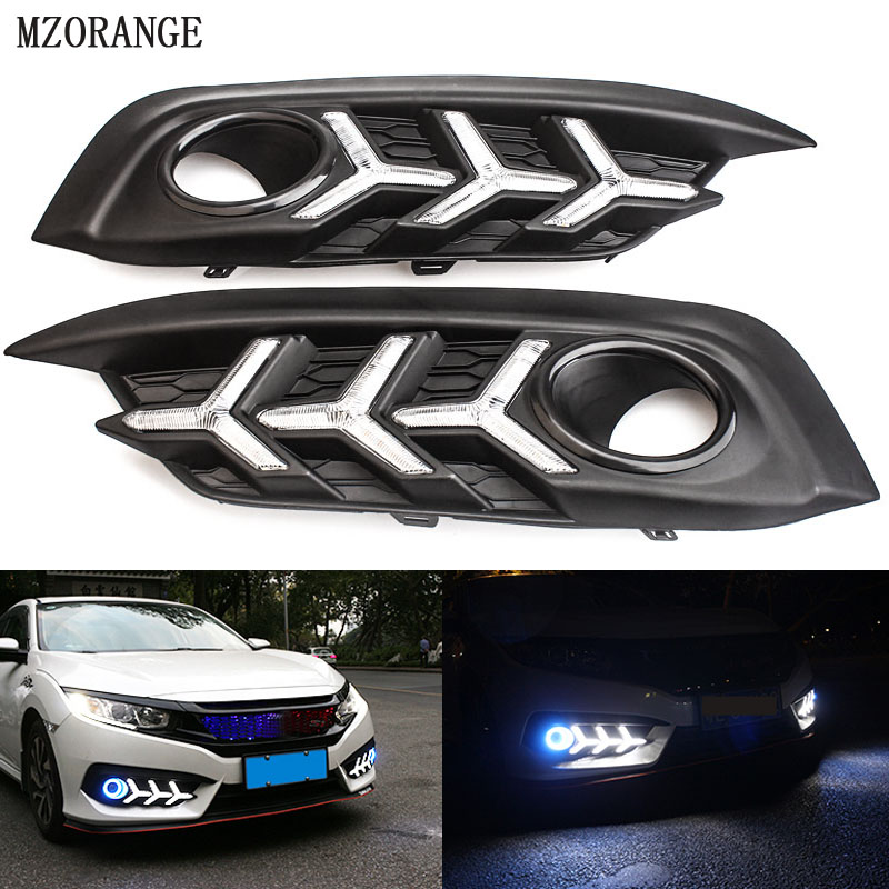 MZORANGE Car drl led For Honda Civci 10th 2016 2017 2018 Daytime Running Lights Angel Eye Front Fog Light  Auto AccessoriesMZORANGE Car drl led For Honda Civci 10th 2016 2017 2018 Daytime Running Lights Angel Eye Front Fog Light  Auto Accessories