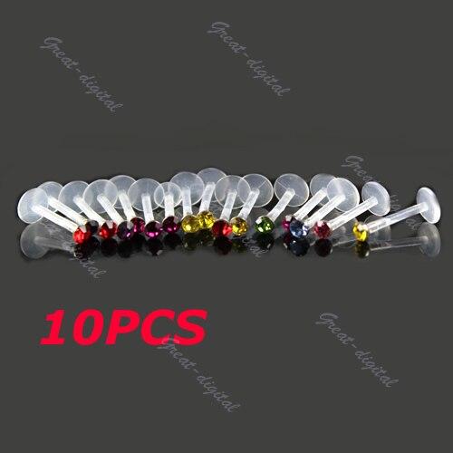 10PCS Beauty Ear Bar Gem Lip Chin Nose Ring Stud Body Piercing Jewelry