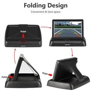Image 4 - 4.3 אינץ אלחוטי TFT LCD רכב צג מתקפל צג תצוגה הפוכה מצלמה חניה מערכת לרכב Rearview מוניטורים NTSC PAL