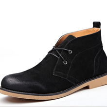 2016 Men Genuine Leather Martin Boots Solid Nubuck Men's Boot Autumn Desert Ankle Boots Men's Shoes