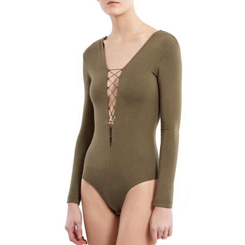 TWOTWINSTYLE сексуальные женские комбинезоны с v-образным вырезом, с длинным рукавом, с открытой спиной, облегающие Женские Боди, осень 2019, модная одежда, новинка