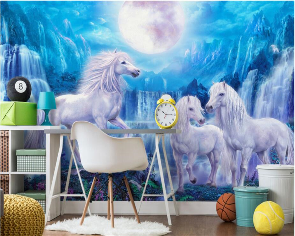 Beibehang custom fashion wallpaper blue sky waterfall horse moon childrens room background papel de parede 3d wallpaper Mural