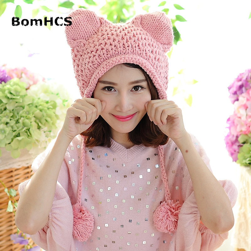 BomHCS Very Cute Fox Ears Cat Ear New Women Winter Hat 100% Handmade Knitted Beanie Ear Muff Hat Cap bomhcs korean cute autumn winter warm color mosaic knitted hat ear muff 100% handmade women beanie cap