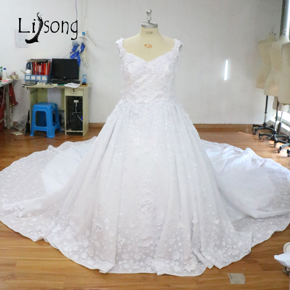 Real Photo White Wedding Dress Royal Train Arabia Middle