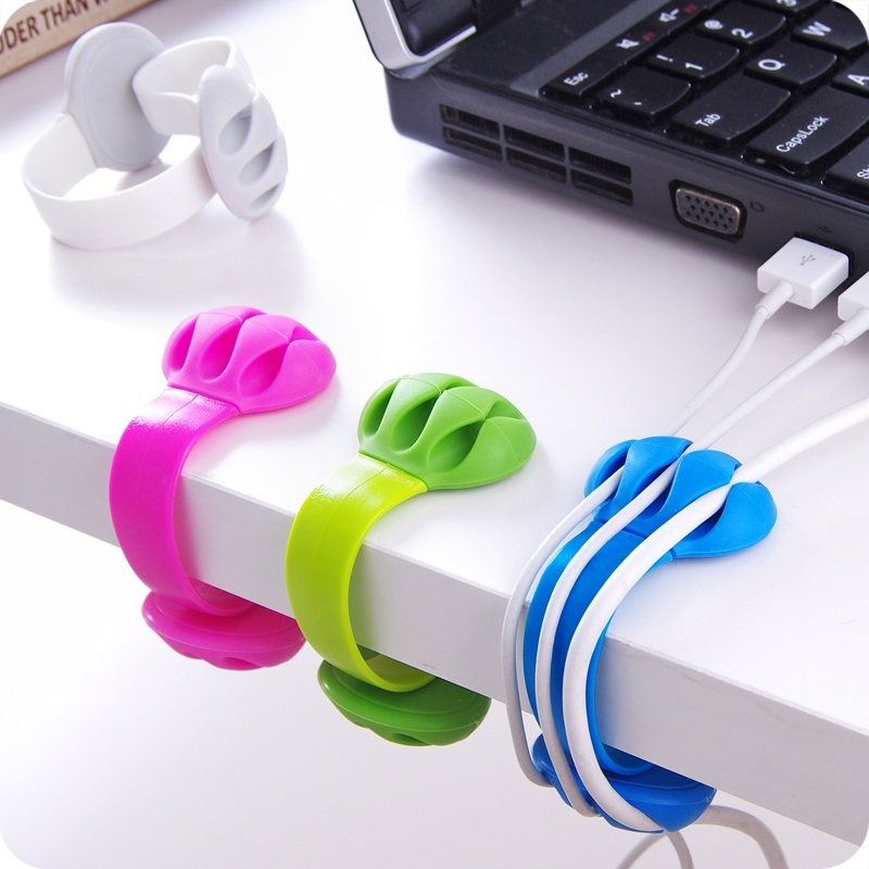 Desk Cable Clips Triple Slots Desktop Cable Organizer Wire Cord Management System Office Table Organizer Securing Clamp