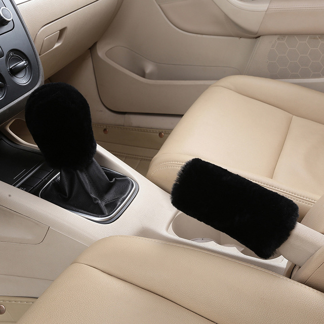 LuckySHD 2Pcs Set Soft Fluffy Auto Gear Shift Knob Cover Handbrake Grip Cover//Grey
