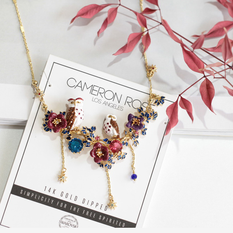 Juicy Grape New Owl Nighthawk Gilded Red Crystal Charm Necklace Clavicle Chain Jewelry For Women Pendant