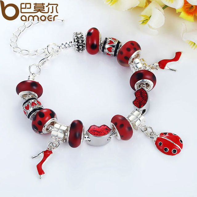Fast Shipping wholesale Silver Color bead Charm Bracelet for women European Style Handmade Silver jewelry PA1198