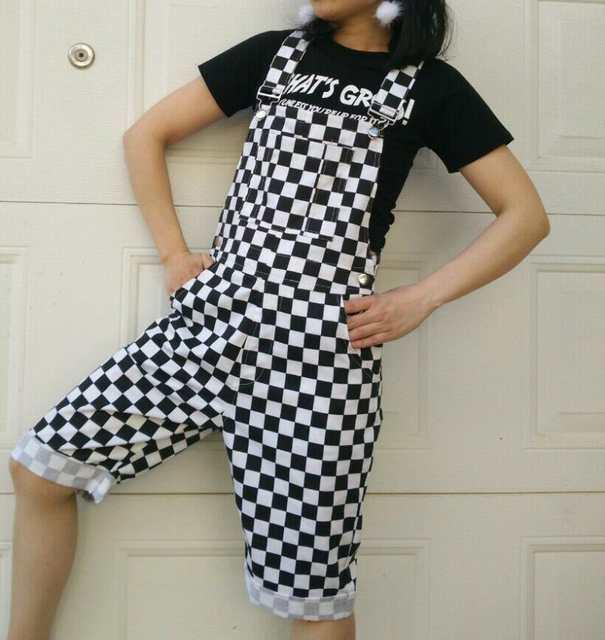 537f39ad0d Online Shop Plus Size XXL Women Men Checkerboard Plaid Short Jumpsuit  Overalls Button Straps Romper Hip hop Playsuit Casual Loose Suspender