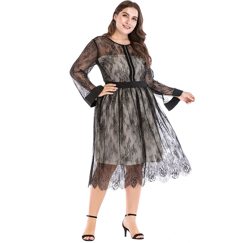 5709366580 Plus Size Vestidos Verano 2019 Spring Black Long Sleeve Sexy Lace Mesh Women  Party Maxi Dress Vestido Robe Femme Vetement Femme-in Dresses from Women s  ...