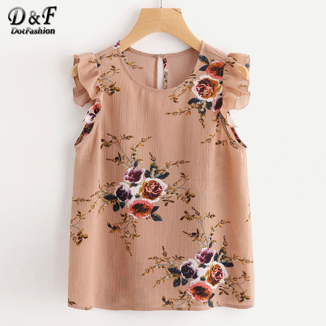 Dotfashion Frilled Armhole Button Closure Back Shell Summer Top Women Round Neck Sleeveless Blouse 2018 Ruffle Floral print Top