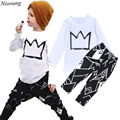 Niosung 1Set Handsome Toddler Baby Boy Long Sleeve Print T-shirt Tops+Pants Outfits Clothes Kids Children Clothing Suit v