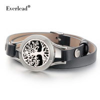 Everkead New Design Tree Of Life Bracelets Real Leather Essential Oil Diffuser Aromatherapy Locket Bracelets For