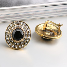 Big Crystal Fashion Round Black Indian Jewelry Earrings For Women
