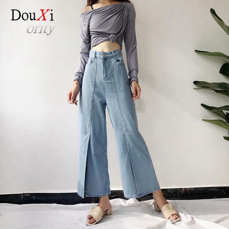 2017 Women Jeans Wide Leg Pants High Waist Ankle-length Split Flared Pants Slim Calca Cintura Alta Feminina Denim Trouser Jeans charter club women s comfort waist slim leg pants 18 warm toffee