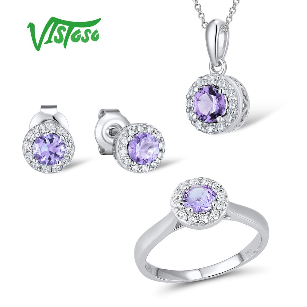 VISTOSO Jewelry Sets For Woman Purple Crystal Stones Jewelry Set Earrings Pendant Ring 925 Sterling Silver Fashion Fine JewelryVISTOSO Jewelry Sets For Woman Purple Crystal Stones Jewelry Set Earrings Pendant Ring 925 Sterling Silver Fashion Fine Jewelry