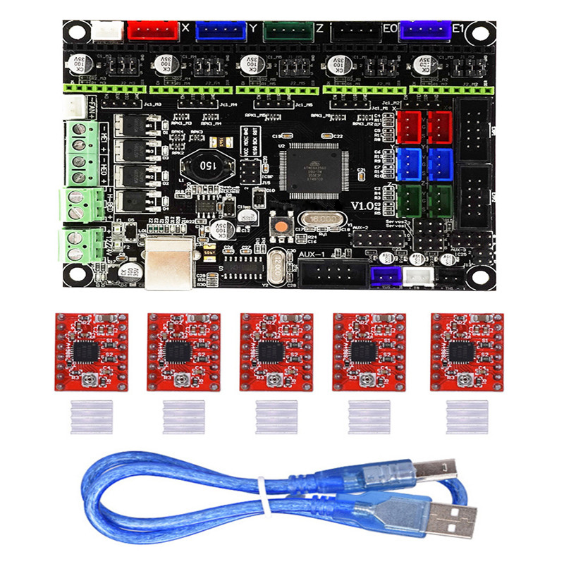 100% Waar 1 St V1.0 Geïntegreerde Controller Moederbord Met 5 Stks A4988 Stappenmotor Driver Compatibel Ramps1.4/mega2560 R3 Voor 3d Printer Modieuze (In) Stijl;