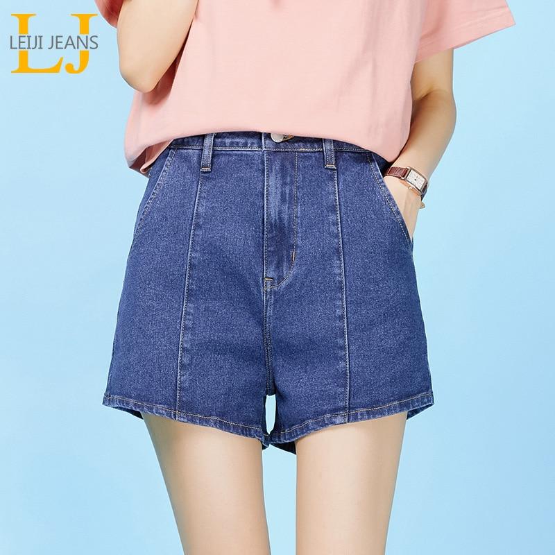 LEIJIJEANS Summer new high waist loose blue ladies denim   shorts   stitching retro regular plus size women's   shorts   9057